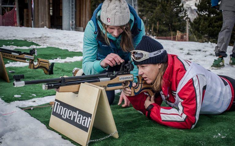 biathlon shooting in Val d'Isère.