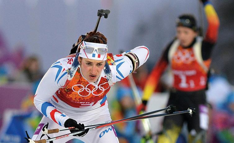 marie laure brunet interviewé par le spécialiste des team building de biathlon